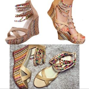 Beaded Wedge Sandals Getmorebeauty